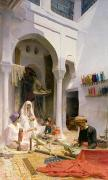 Family  On Canvas Paintings - An Arab Weaver by Armand Point