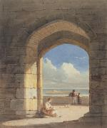 Looking Out Paintings - An Arch at Holy Island - Northumberland by John Varley