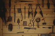 Hand Tools Framed Prints - An Assortment Of Hand Tools Hang Framed Print by Raul Touzon