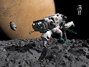 Astronautics Art - An Astronaut Makes First Human Contact by Walter Myers