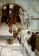 Historic Statue Painting Framed Prints - An Audience at Agrippas Framed Print by Sir Lawrence Alma-Tadema