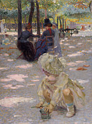 Children.baby Paintings - An August afternoon at the Luxembourg by Henri-edmond Cross