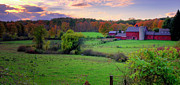 New England Farms Framed Prints - An Autumn Farmscape-Cornwall Connecticut Framed Print by Thomas Schoeller