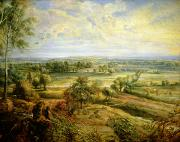 Belgium Paintings - An Autumn Landscape with a view of Het Steen in the Early Morning by Rubens