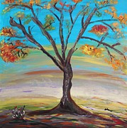 Autumn Landscape Drawings - An Autumn Locust Tree by Mary Carol Williams