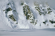 Natural Forces And Phenomena Prints - An Avalanche Along A Rock Mountain Face Print by Tim Laman