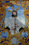 Tiled Posters - An azulejo ceramic tilework depicting Jesus Christ Poster by Sami Sarkis