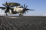 Man The Rails Prints - An E-2c Hawkeye Sits On The Flight Deck Print by Stocktrek Images