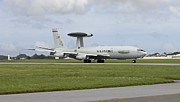 707 Framed Prints - An E-3 Awacs Comes Into Land At Kadena Framed Print by HIGH-G Productions