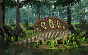 Scale Digital Art - An Edaphosaurus Forages In A Brackish by Walter Myers