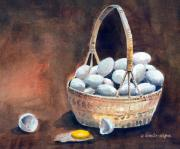 Baskets Mixed Media Framed Prints - An Egg Mishap Framed Print by Arline Wagner
