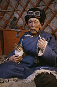 Elderly People Art - An Elderly Mongolian Man Relaxes by Gordon Wiltsie
