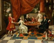 Tiled Painting Posters - An Elegant Family Taking Tea  Poster by Gavin Hamilton