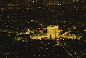 Night Scenes Framed Prints - An Elevated View Of The Arc De Triomphe Framed Print by Sam Kittner