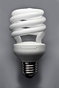 White Spiral Prints - An Energy Efficient Lightbulb Print by Larry Washburn