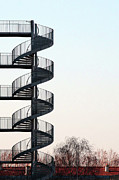 Sky Fire Prints - An Escape Stairway Print by Gerard Hermand