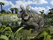 Mouth Open Digital Art Prints - An Estemmenosuchus Mirabilis Stands Print by Walter Myers