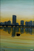 Religious Artwork Painting Originals - An Evening In Boston by Syed kashif Ahmad