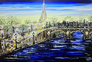 Christine Krainock Prints Framed Prints - An Evening in Paris Framed Print by Christine Krainock