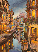 Venice Waterway Posters - An Evening in Venice Poster by Charlotte Blanchard