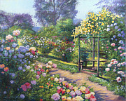 Gardenscape Paintings - An Evening Rose Garden by David Lloyd Glover