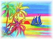 Tree Reflection At Sunset Posters - An Evening Sail At Sunset Poster by Connie Valasco