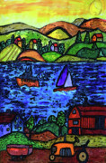 Sailboats Drawings - An Evening Sunset by Monica Engeler