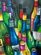 Wine Bottles Framed Prints - An Evening With Friends Framed Print by Patti Schermerhorn