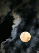 Full Moon Art - An Evil Face in the Clouds by Kristin Elmquist