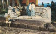 Ancient Tomb Framed Prints - An Exedra Framed Print by Sir Lawrence Alma-Tadema