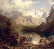 Mountain Snow Landscape Paintings - An Extensive Alpine Lake Landscape by Augustus Wilhelm Leu