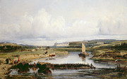 Chateau Prints - An Extensive River Landscape with a View of the Chateau dAmboise Print by Victor-Marie-Felix Danvin