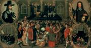 Punishment Painting Prints - An Eyewitness Representation of the Execution of King Charles I Print by John Weesop