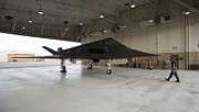 Hangar Prints - An F-117 Nighthawk Parked In The Hangar Print by HIGH-G Productions