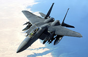 Iraq Prints - An F-15e Strike Eagle Flies Over Iraq Print by Stocktrek Images