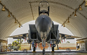 Hangar Prints - An F-15i Raam Parked In The Hangar Print by Giovanni Colla