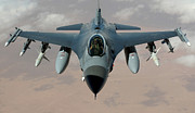 An F-16 Fighting Falcon Flies A Mission Print by Stocktrek Images
