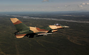 F-16 Aggressor Prints - An F-16c Aggressor Aircraft Print by Stocktrek Images