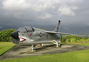 Single-engine Photos - An F-8 Crusader Aircraft On Display by Michael Wood