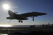 Carrier Prints - An Fa-18 Hornet Prepares To Make An Print by Stocktrek Images
