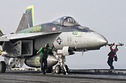 Naval Aircraft Prints - An Fa-18 Super Hornet Is Ready Print by Giovanni Colla