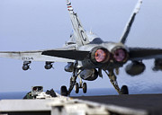 F-18 Prints - An Fa-18a+ Hornet Launches Print by Stocktrek Images