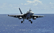 F-18 Photo Prints - An Fa-18c Hornet Approaches The Flight Print by Stocktrek Images