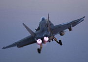 F-18 Prints - An Fa-18c Hornet In Flight Print by Stocktrek Images