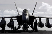 Uss Ronald Reagan Prints - An Fa-18e Super Hornet On The Flight Print by Stocktrek Images
