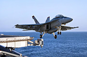 F-18 Photo Prints - An Fa-18f Super Hornet Takes Print by Stocktrek Images