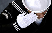 White Gloves Photo Prints - An Honor Guard Member Renders A Salute Print by Stocktrek Images