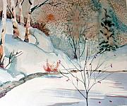 Creek Drawings - An Icy Winter by Mindy Newman
