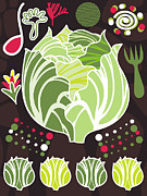 Salad Digital Art Prints - An Illustration About Lettuce And Salad Print by Yulia Drobova
