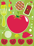 Ketchup Framed Prints - An Illustration About Tomatoes And Ketchup Framed Print by Yulia Drobova